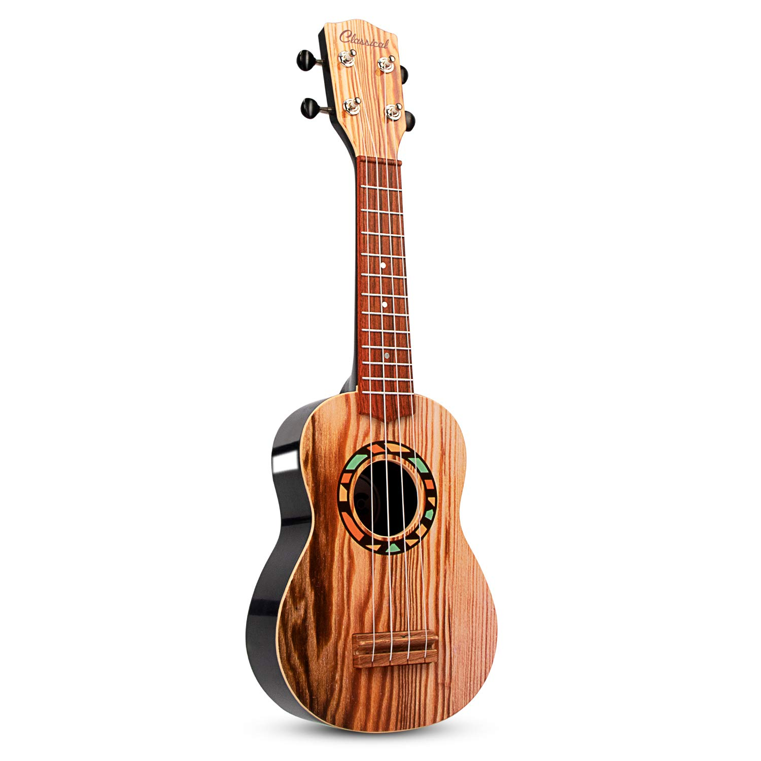 AIMEDYOU 21'' Mini Ukulele Guitar Toy for Kids, 4 Strings Children Musical Instruments Educational Toys with The Picks and Strap for Beginner Starter (Burlywood)