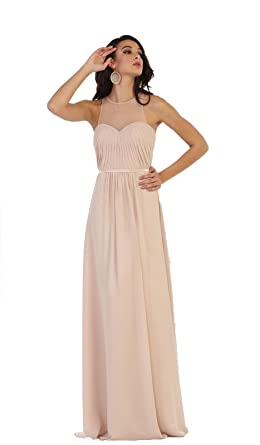 May Queen MQ1442 Simple Long Bridesmaids Evening Gown (4, Champagne)