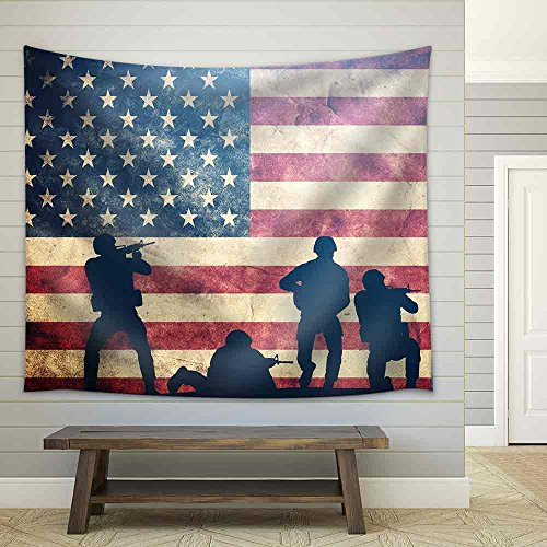 Soldiers in Assault on Grunge Usa Flag American Army Military Concept Fabric Wall