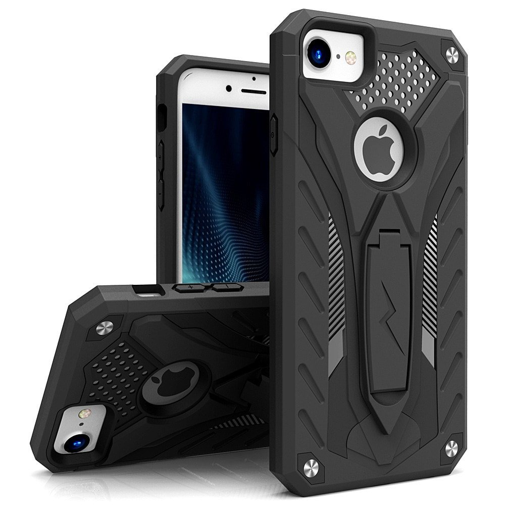 Zizo Static Series Compatible with iPhone 8 Case Military Grade Drop Tested with Built in Kickstand iPhone 7 iPhone 6 Case Black Black