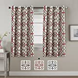 Thermal Insulated Blackout Curtains 63 length Three Pass Microfiber Noise Reducing Grommet Top Window Draperies & Curtains for Living Room Taupe and Red Geo Pattern, 2 Panels, 52x63 - Inch