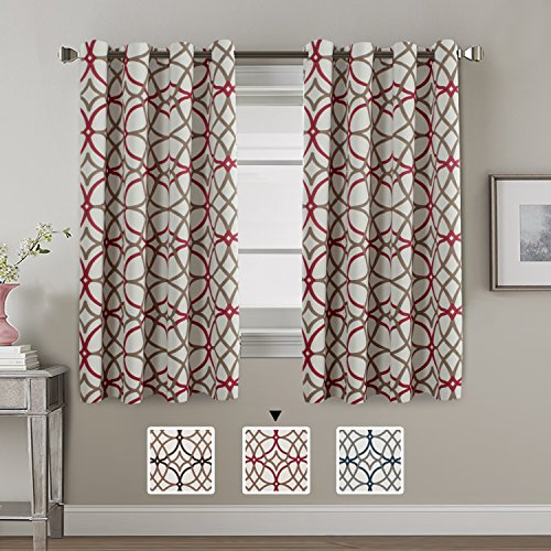 H.VERSAILTEX Thermal Insulated Blackout Window Room Grommet Curtain Drapes 52  Inch Width By 63 Inch Length Set Of 2 Panels Taupe And Red Geo Pattern