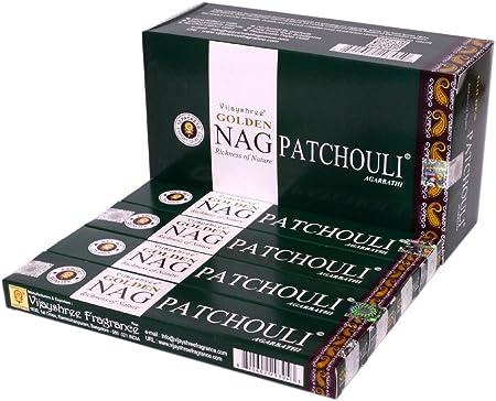 Golden Nag Patchouli – Pack de 12 varillas de incienso con ...