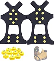 Fiersh Ice Cleats - Snow Grips Crampons Anti-Slip Traction Cleats Ice & Snow Grippers for Shoes and Boots - 10 Steel Studs Slip-on Stretch Footwear for Women Men Kids (Extra 10 Studs)