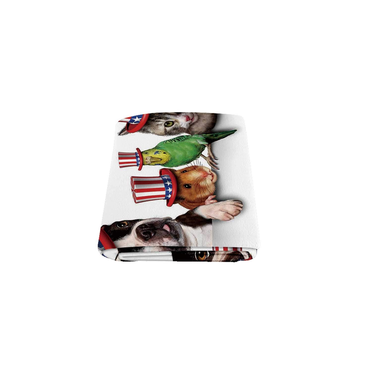 C COABALLA Fourth of July Warm Blanket,Cute Pet Animal Dog Cat Bird and Hamster with American Hat Celebration Image Decorative for Indoor,58'' x 80'' by C COABALLA