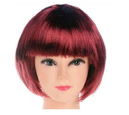 MUJERES CORTAS PELUCA BOB FANCY DRESS COSPLAY WIGS POP PARTY COSTUME (Vino rojo)