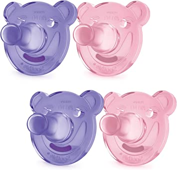 4 count Pink//Purple and Blue 0-3 Months Philips Avent Soothie Pacifier