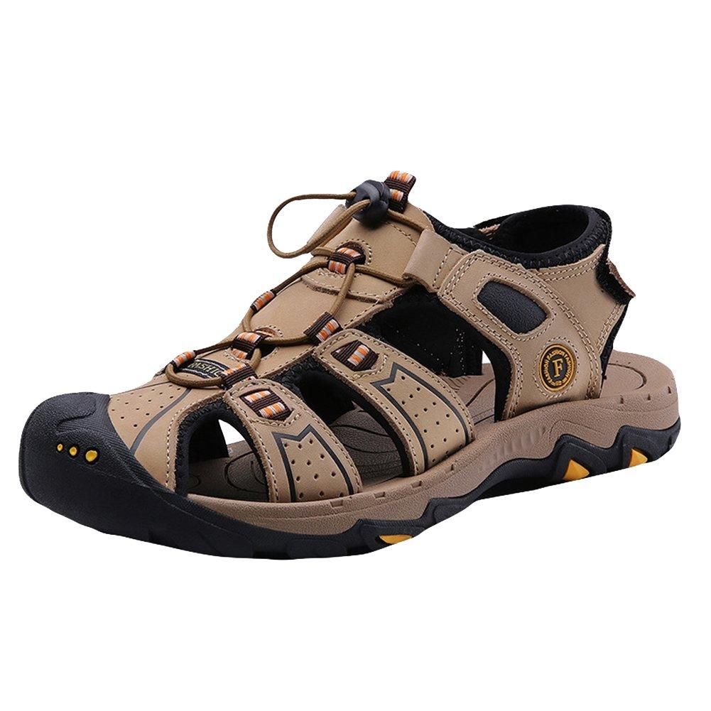 Insun Hombre Cuero Sandalias de Playa con Puntera Cerrada Zapatillas de Montaña 40 EU|Marrón 2