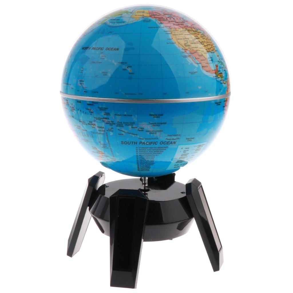 Homyl 5.5inch Blue Ocean Desktop World Globe Roating Globe (Solar Powered) Black Base