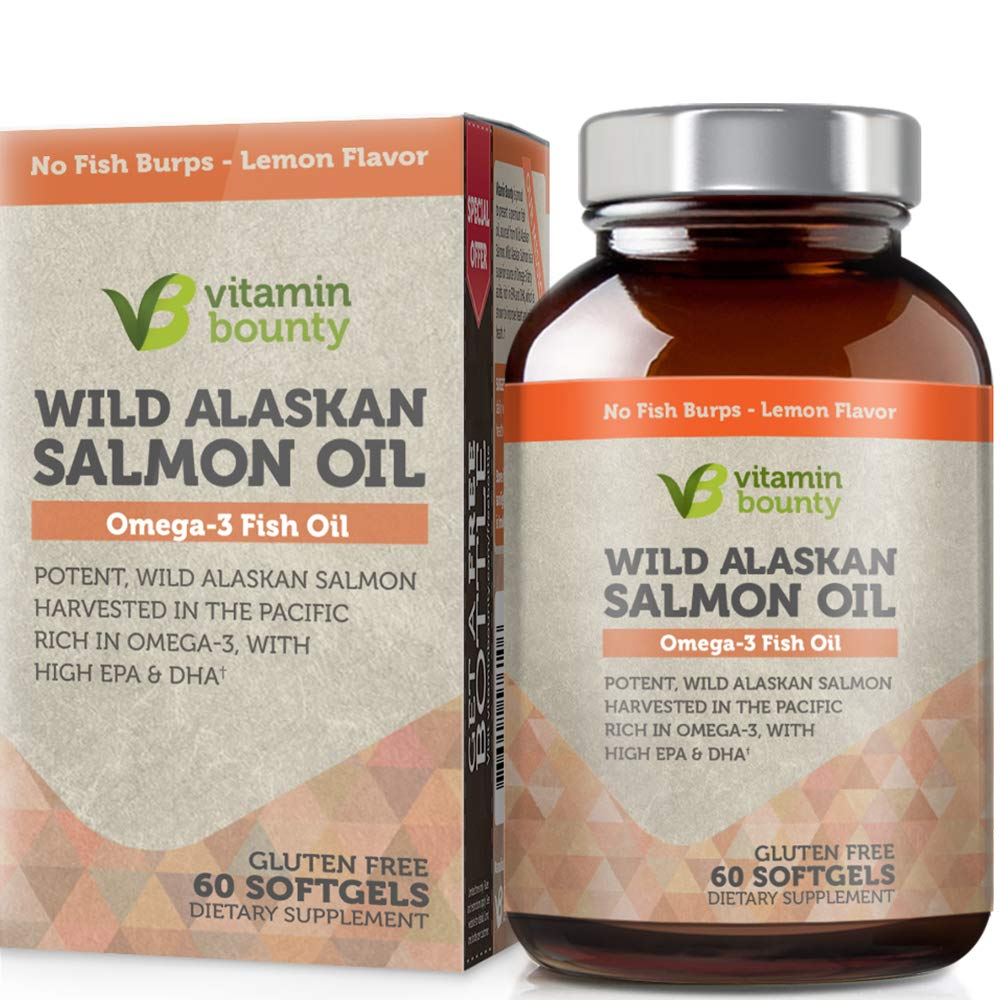 Omega 3 Fish Oil From Wild Alaskan Salmon - The Best & Purest Kind of Fish Oil - High in EPA, DHA, Omega 3, 6 and 9 by Vitamin Bounty