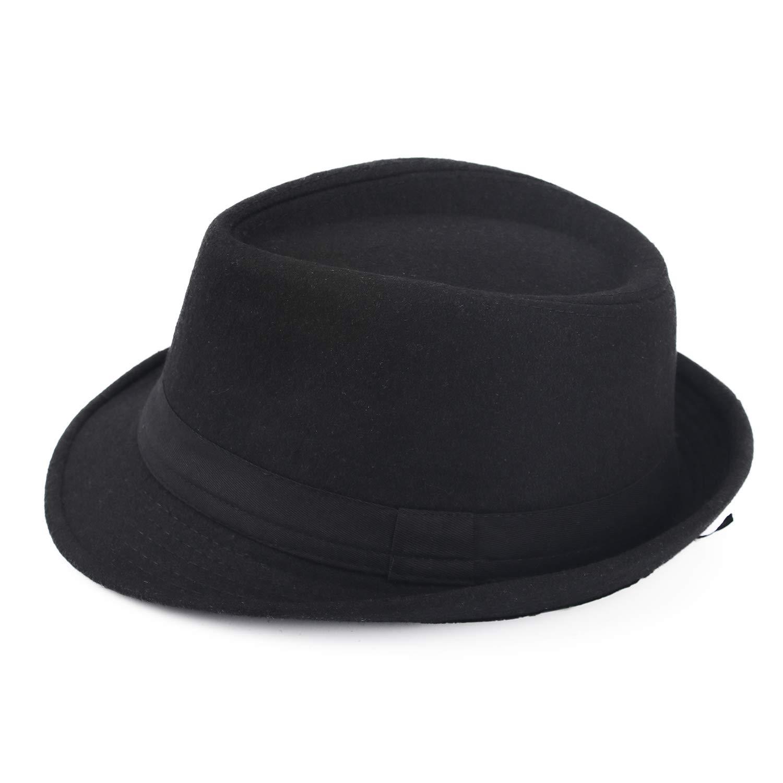 Melesh Unisex Classic Trilby Fedora Hat (Black) by Melesh (Image #2)