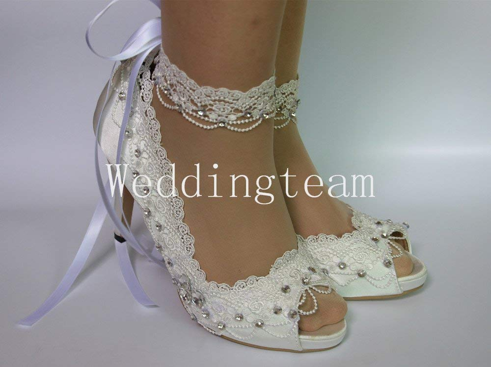 9f5b708b3b3e5 white ivory lace pearls open toe Wedding prom shoes bride size 5-10