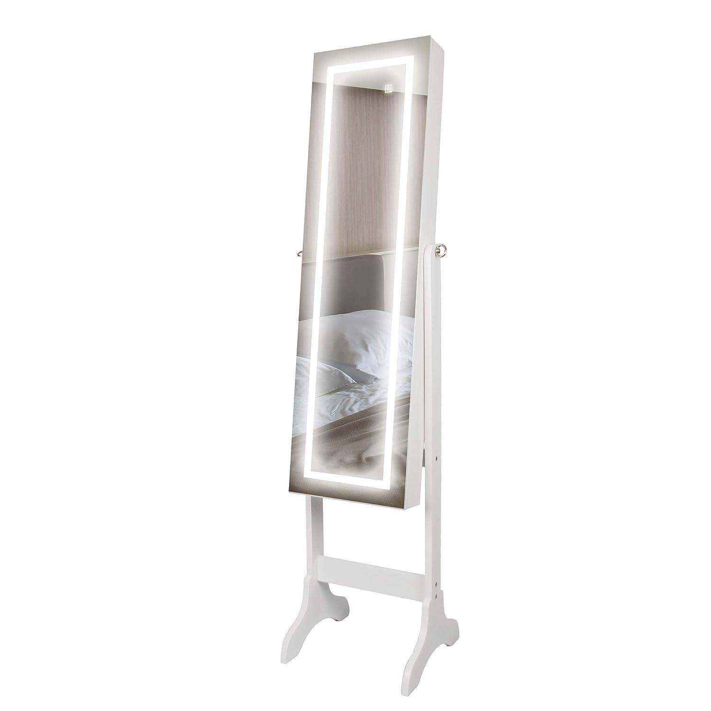 Ezigoo Mirrored Jewellery Cabinet with Touchscreen LED Lights – Jewellery Cabinet Full-Length Frameless Mirror JC-04