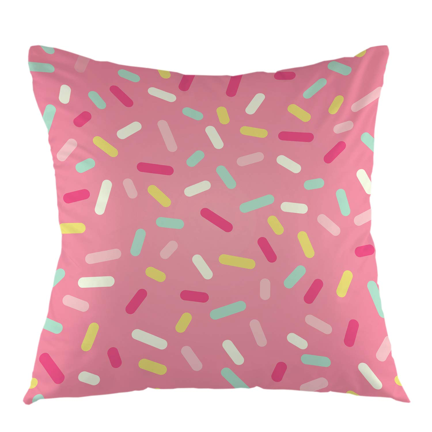 """oFloral Geometric Throw Pillow Cover Pink Decorative Donut Glaze Confetti Throw Pillow Case Square Cushion Case Home Decor for Sofa Bedroom Livingroom 18"""" x 18"""" inch Pillowcase"""