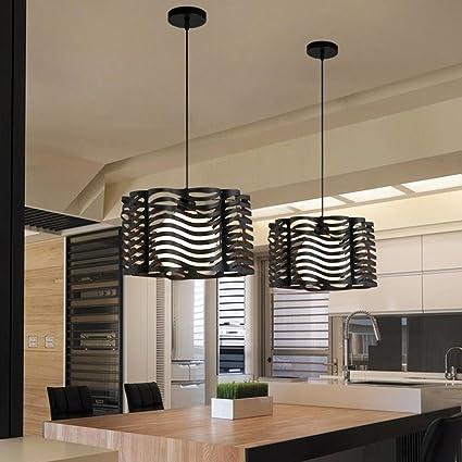 E27 Lámpara Colgante Lámparas de araña Hueco Octogonal Jaula Hierro Pantallas de lámparas con Iluminación de techo Estilo Moderna Simple para Salón Dormitorio Comedor Bar Colgante de luz IP20, Negro: Amazon.es: Iluminación