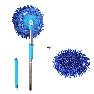 Meirun 360 Degree Spin Wet Mop,Microfiber Chenille Flexible Handle Car Cleaning Mop Plus towel (Blue mop +Blue head)