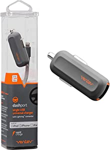 Ventev Car Charger with Apple Lightning Cable Dash Port R1240 | Fast Charging at Max Rate, No Fray-Durability, Universally Compatible with Apple Devices, iPhone and iPad | Grey