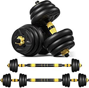 VLVEE Dumbbells Set Fitness Exercise, Adjustable Weight to 44Lbs, Gym Work Out Exercise Training with Connecting Rod Used as Barbells Home Fitness Equipment for Men and Women