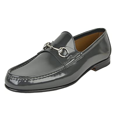 0a84158a3c0 Gucci Mens Loafers Brushed Piombo Leather Horsebit Shoes (7.5   8D   41.5)