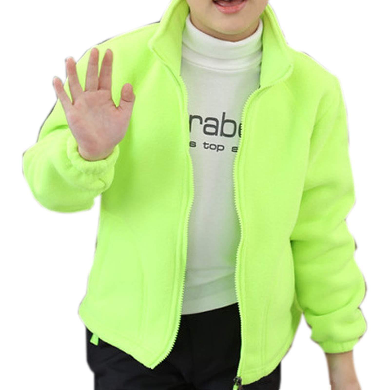 ZumZup Kids Fleece Jacket Full Zip Stand Collar Boys Sportwear Top Outwear Fruit Green2 Bust 35''(Asie XS) by ZumZup