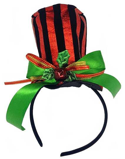 a6fa683b93a Amazon.com  Tutu Dreams Stripes Christmas Funny Top Hat Headband for Kids  Ribbon Mistletoe Holly Berries (Hat)  Clothing