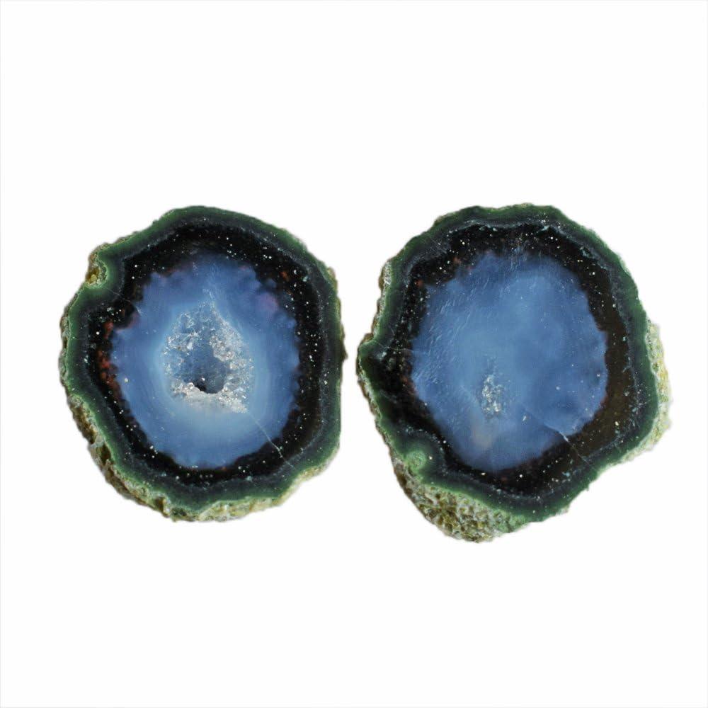 Par de piedras preciosas de ágata natural y atractiva, tamaño 20 x 19 x 7 mm, par de pendientes, piedra para bisutería AG-10516
