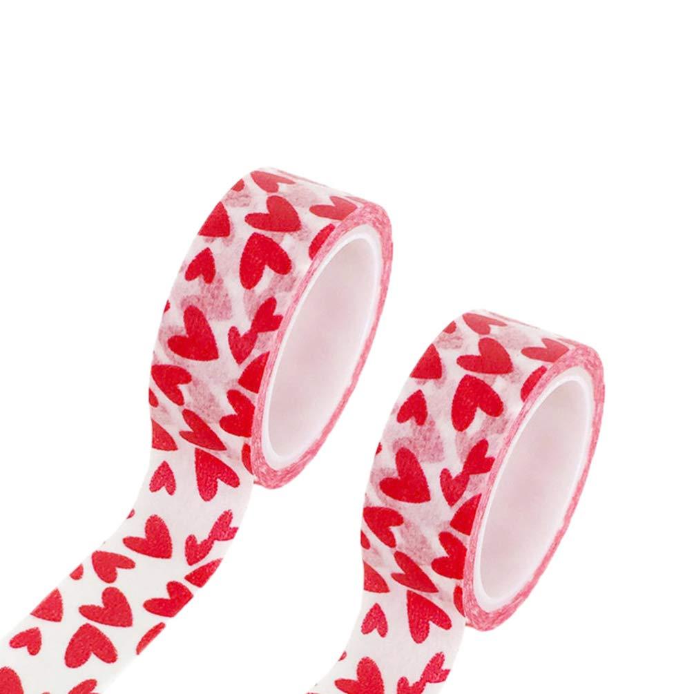 STOBOK Love Washi Tape Red Heart Pattern Cinta Adhesiva de Papel Diy /Álbumes de Fotos Boda D/ía de San Valent/ín Envoltura de Regalos 6Pcs