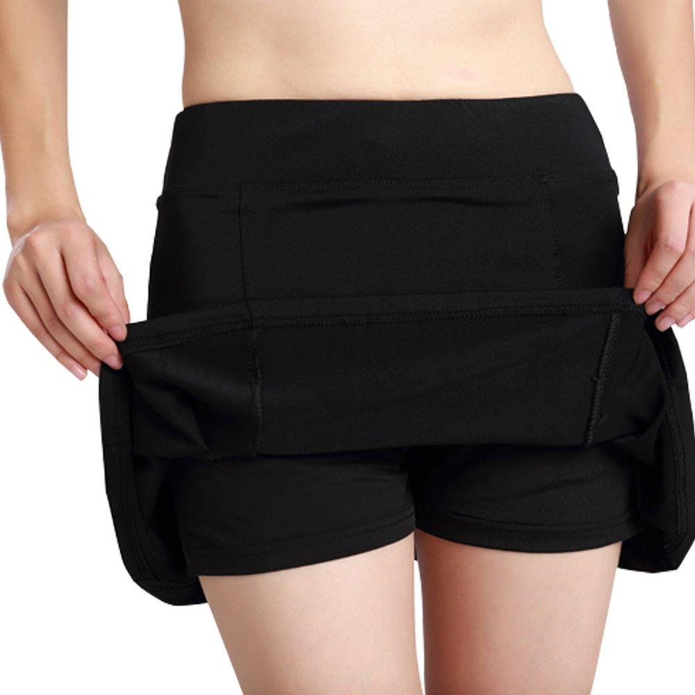 Women's Active Athletic Underneath Skorts Lightweight Skirt Pockets Running Tennis Golf Workout Black Size S