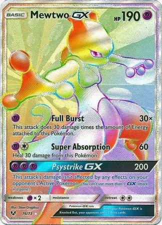 Mewtwo-GX - 76/73 - Secret Rare (All Rare Pokemon Cards)