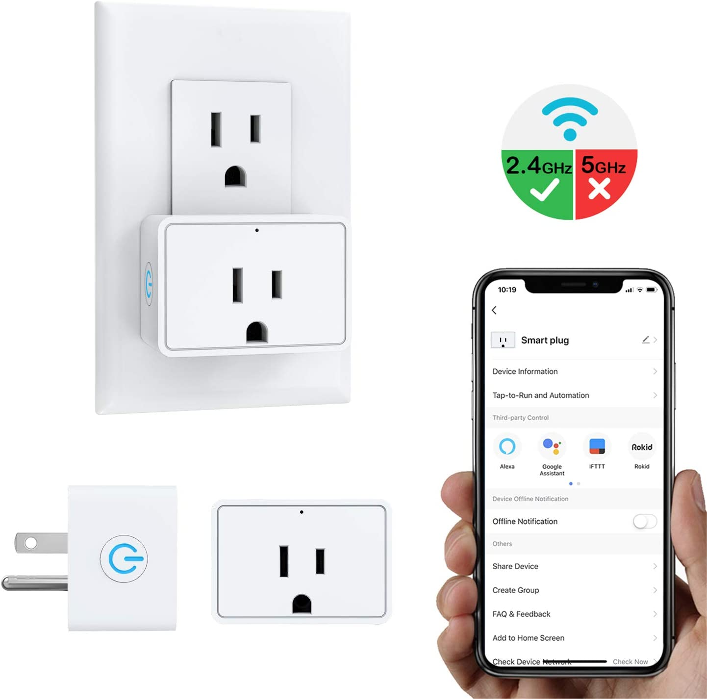 MoKo Smart Plug Mini WiFi Outlet, Work with Alexa/Google Home/IFTTT, Voice/Remote Control, Timer Plug, Current Measurement & Monitoring, 16A, No Hub, Only Supports 2.4GHz Network, White