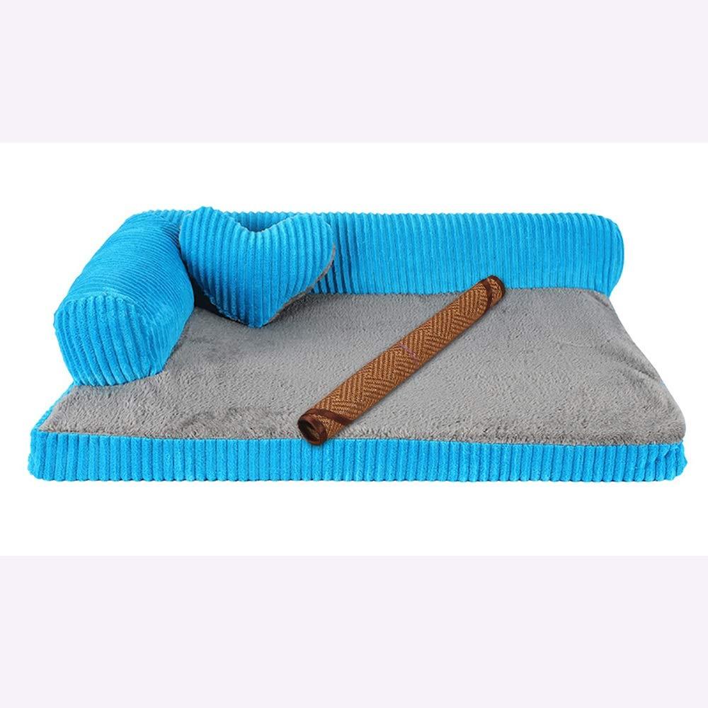 WWXX- Letto per Cani E Gatti, Inverno Tenere Caldo Canile Lavabile, Base Dell'animale Domestico per Il Piccolo Cane Medio Grande (colore   blu1, Dimensioni   XL(105x90x20cm))