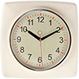 """Lily's Home Square Retro Kitchen Wall Clock, Large Dial Quartz Timepiece, Ivory, 11"""""""