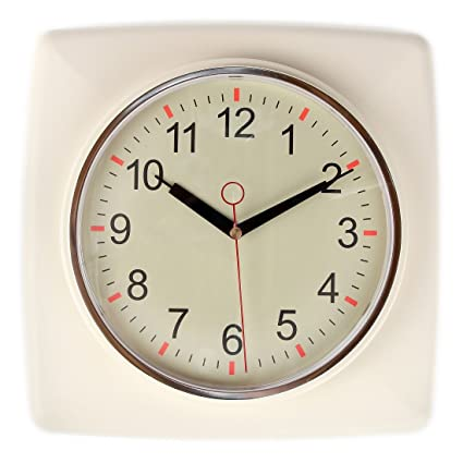 Attrayant Lilyu0027s Home Square Retro Kitchen Wall Clock, Large Dial Quartz Timepiece,  Ivory, 11