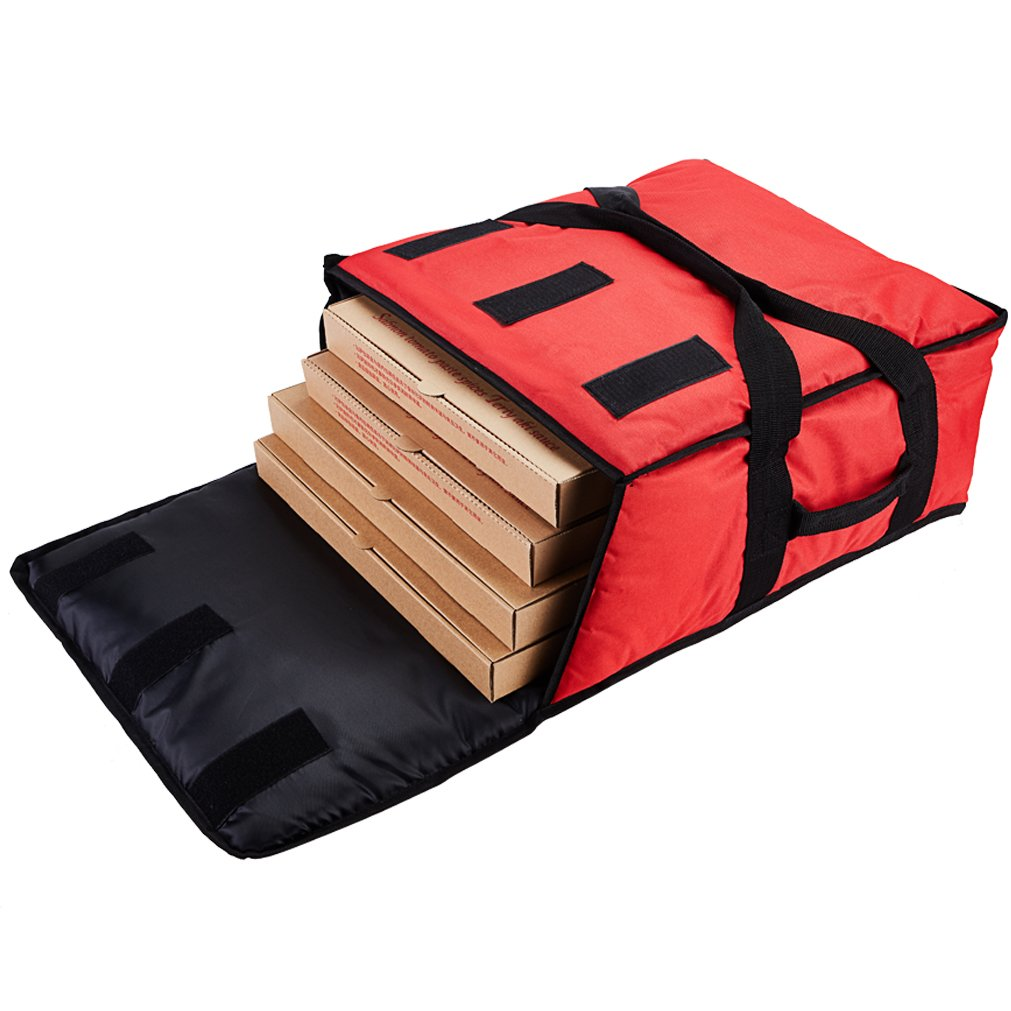 Yopralbags Insulated Food Delivery Bag Pizza Boxes Professional Warmer Carrier Moisture Free for 4-16'' or 3-18'' (Red, 20''X20''X9'')