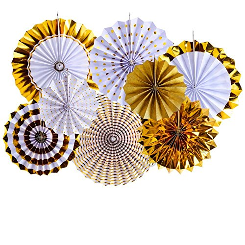 Moohome Gold Hanging Paper Fans Set,Colorful Round Pattern/Paper Garlands for Party/Wedding/Birthday/Festival/Christmas/Event 8pc/Set (Gold)