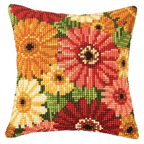 Chunky Cross Stitch - Gerbera Cushion Front Chunky Cross Stitch Kit