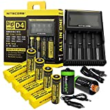 Nitecore D4 Digicharge universal home/in-car battery charger, Four Nitecore IMR 18650 NI18650A 2000mAH rechargeable batteries with 2 X EdisonBright AA to D type battery spacer/converters