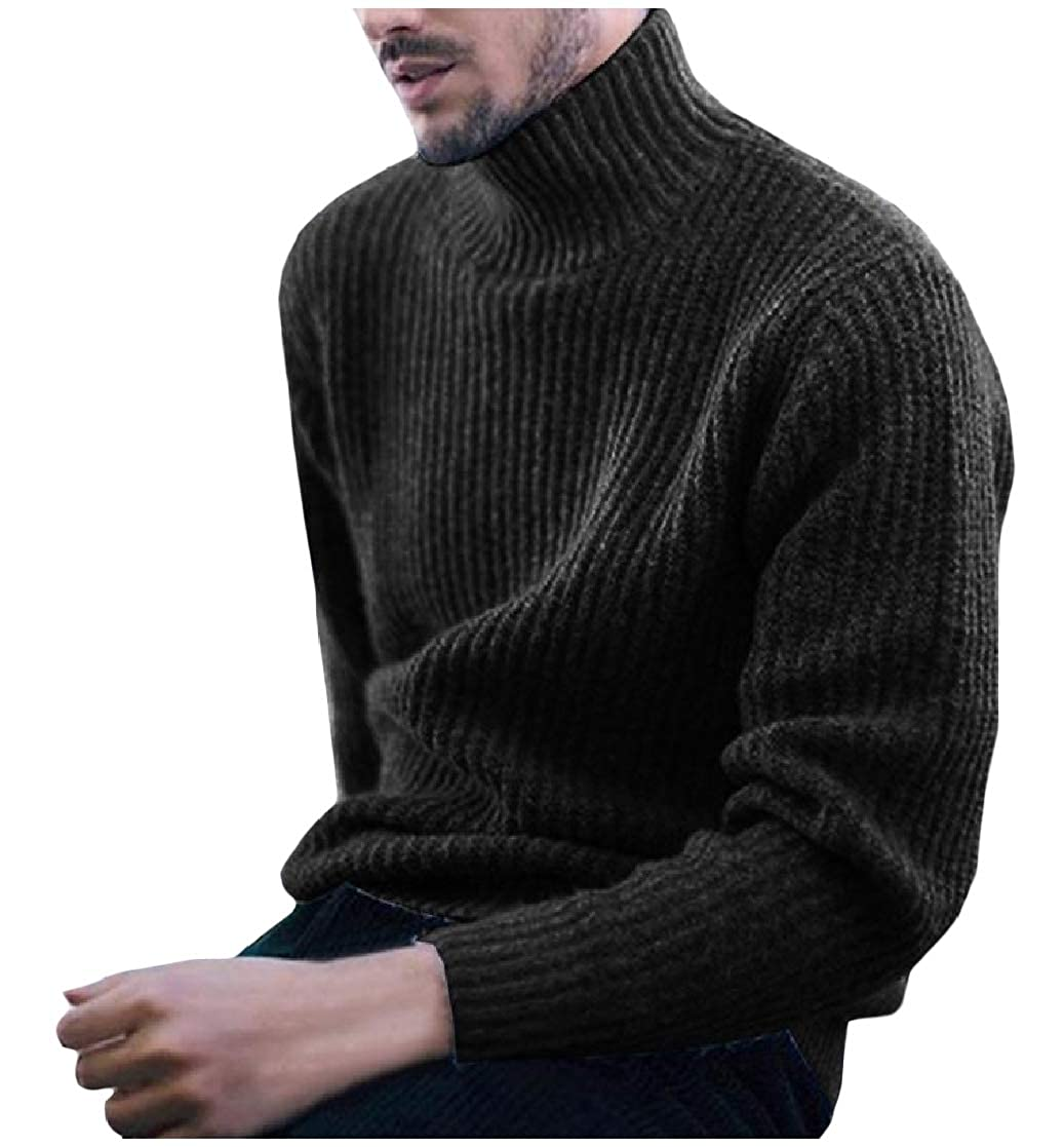 YUNY Men Long Sleeve Knit Turtle Neck Pullover Simple Outwear Sweaters Black S