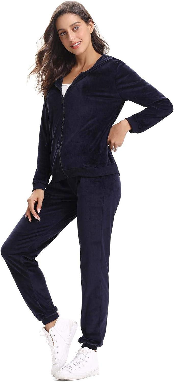 Aibrou Mujer Sudadera con Capucha y Pantalón de Sudor Conjunto Gemelo Manga Larga Conjunto de Abrigo Deportivo de Terciopelo sólido Chándales para Mujer