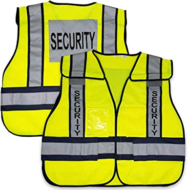 Hi Vis Safety Vest Reflective Tape Night High Visibility Yellow Security Print