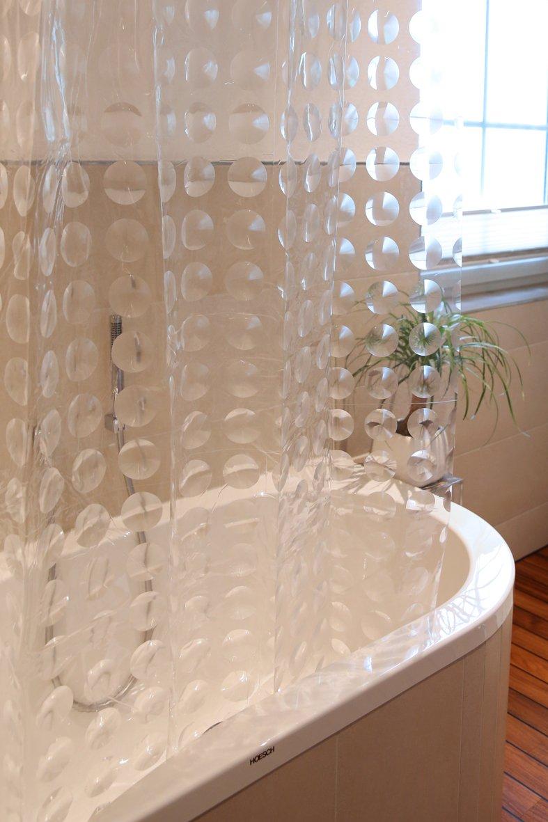 Cortinas con patrón circular en óptica 3D.  Medida 180x200cm.