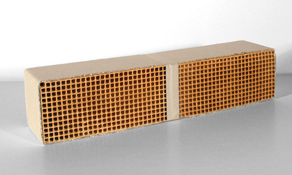 "Ceramic Honeycomb Catalytic Combustor (CC-405) for FIREPLACE XTRORDINAIR models 36AC, FPX36, FPX36A, and FPX36AZC by Travis Industries. Measures 3"" wide by 14"" long by 3"" thick."
