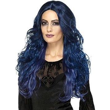 SmiffyS 45056 Peluca De Bruja Sirena Oculta Oscuro, Azul / Negro