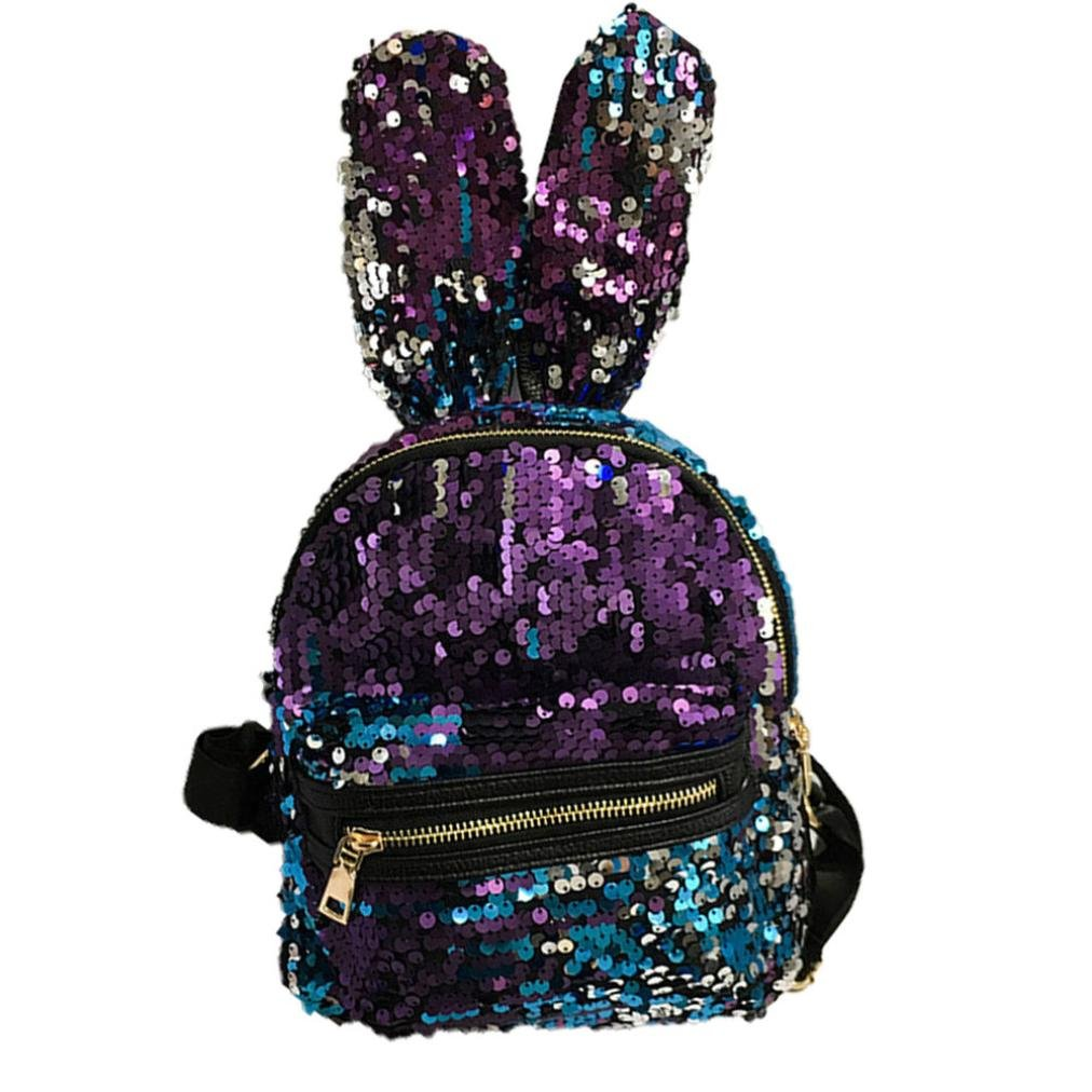 Clearance! Nevera Fashion Girls Sequins Shoulder Women Leisure School Bags Travel Pack Backpacks (Blue)