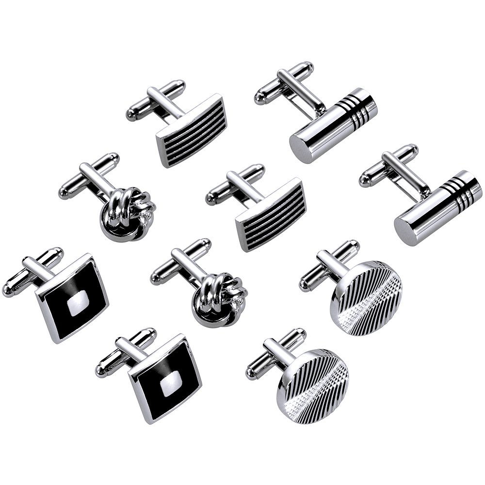 Lictin Men's Cufflinks Cuff Links for Men, 5 Pairs Stainless Steel Classic Tone Cufflinks Black Striped Cuff Links Shirt Suit Cufflinks Soother Clip Soother Holder Soother Clip with Baby Name DIY Design Great Gift for Newborn