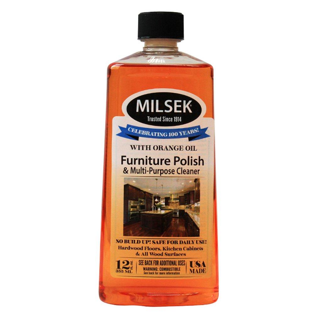 Milsek Orange Furniture Polish & Cleaner with Orange Oil, 12-Ounce, OR-12