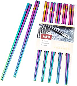 Ryncoco Stainless Steel Chopsticks Series-Reusable Multicolor Lightweight 304 Stainless Steel Chopsticks Metal Chopsticks Gift Set