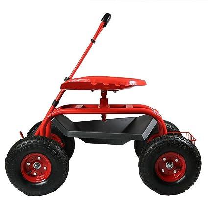 Sunnydaze Garden Cart Rolling Scooter With Extendable Steering Handle,  Swivel Seat U0026 Utility Basket,