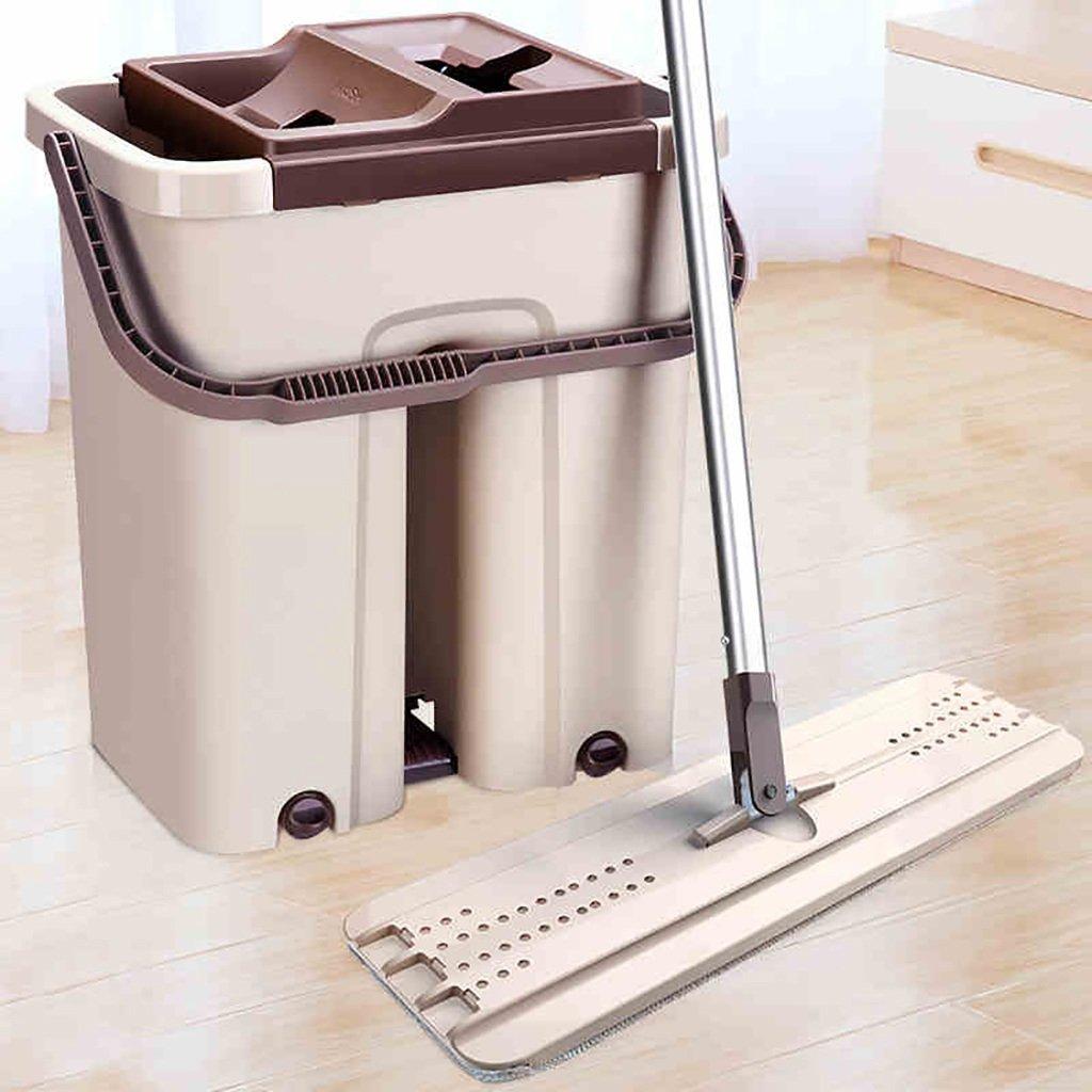 モップ完全洗浄システムモップヘッド+ 360°回転モップバケット時間と労力を節約ロータリーモップ B07FMG95WC