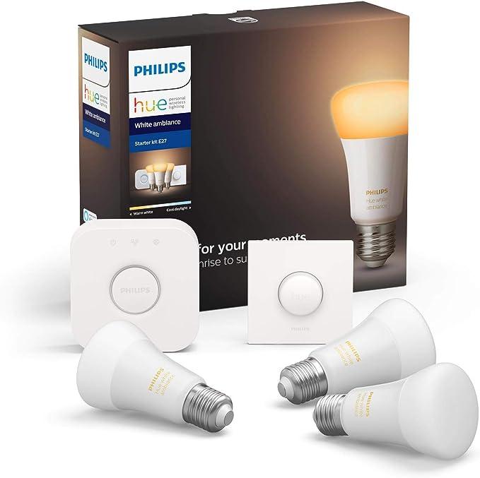 Hue White Amb E27 3 Piece Starter Set 3x806lm Bluetooth 1x Smartbutton Beleuchtung